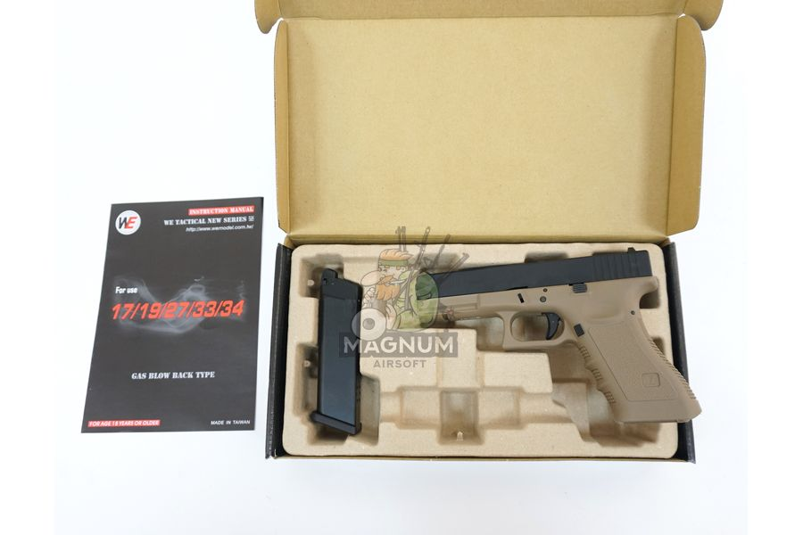 WE G001A TAN 3 - Пистолет WE GLOCK-17 gen3 WE-G001A-TAN / GP616(TAN)