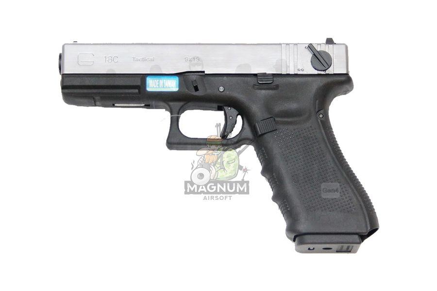 WE G002B SV 1 - Пистолет WE GLOCK-18 gen4 WE-G002B-SV / GP617B-SV