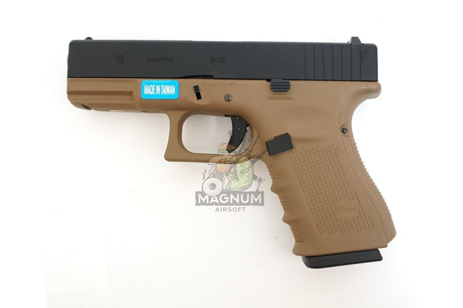 WE G003B TAN 1 - Пистолет WE GLOCK-19 gen4 WE-G003B-TAN / GP619B-TAN