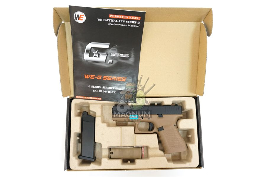 WE G003B TAN 3 - Пистолет WE GLOCK-19 gen4 WE-G003B-TAN / GP619B-TAN