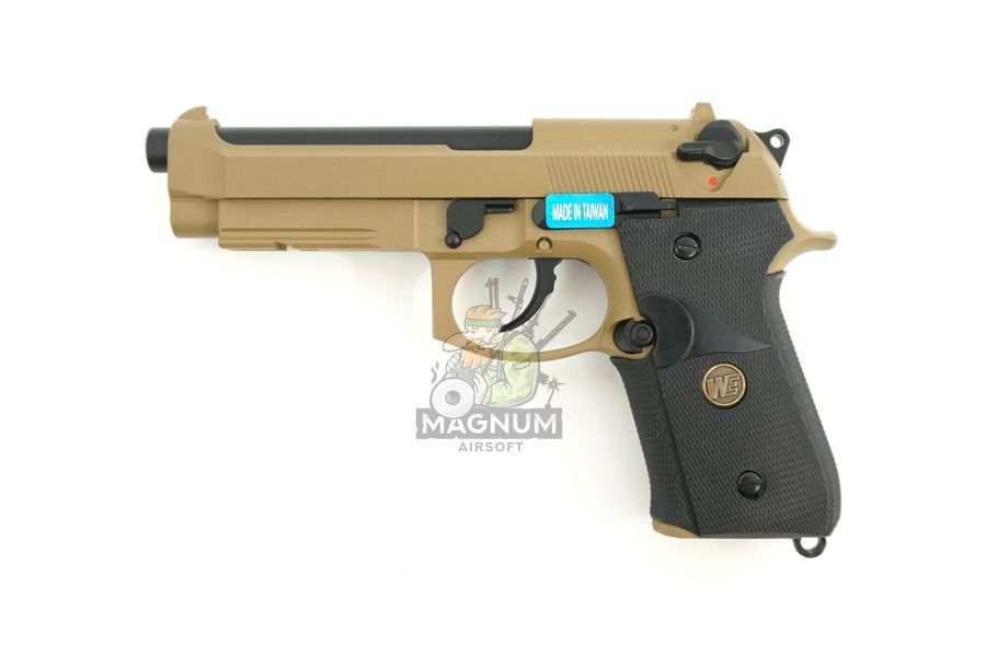 WE M009 TAN 1 - Пистолет WE BERETTA M92F WE-M009-TAN / GP301(TAN)