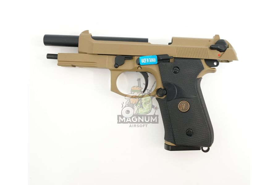 WE M009 TAN 3 - Пистолет WE BERETTA M92F WE-M009-TAN / GP301(TAN)