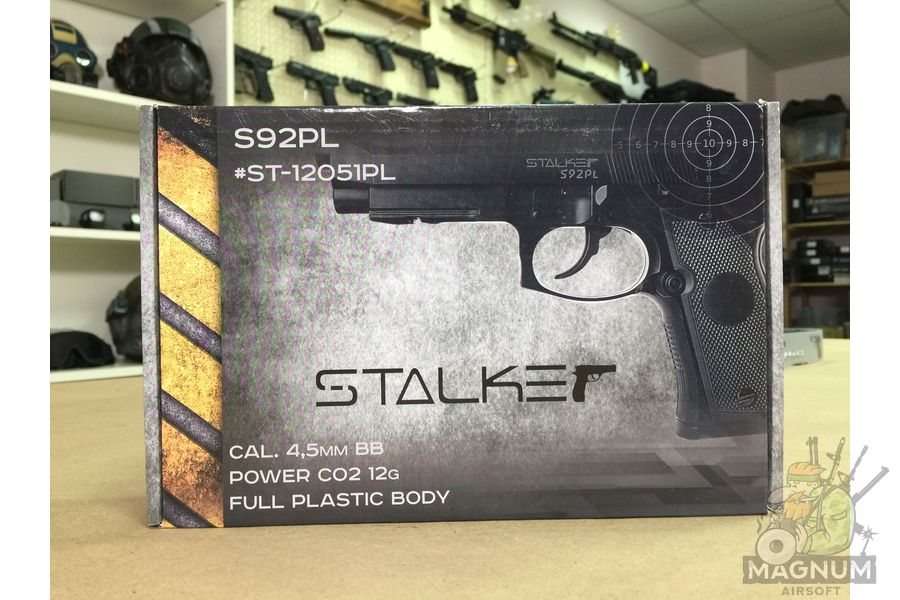 "IMG 7088 - Пистолет пневматический Stalker S92PL (аналог ""Beretta 92"") к.4,5мм, пластик, 120 м/с, черный"