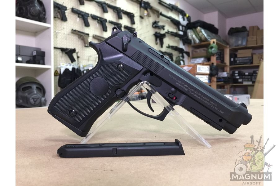 "IMG 7091 - Пистолет пневматический Stalker S92PL (аналог ""Beretta 92"") к.4,5мм, пластик, 120 м/с, черный"