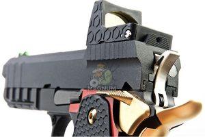 AW Custom 'Competitor' Hi Capa Gas Blowback Pistol - Black w/ Red & Gold Trim