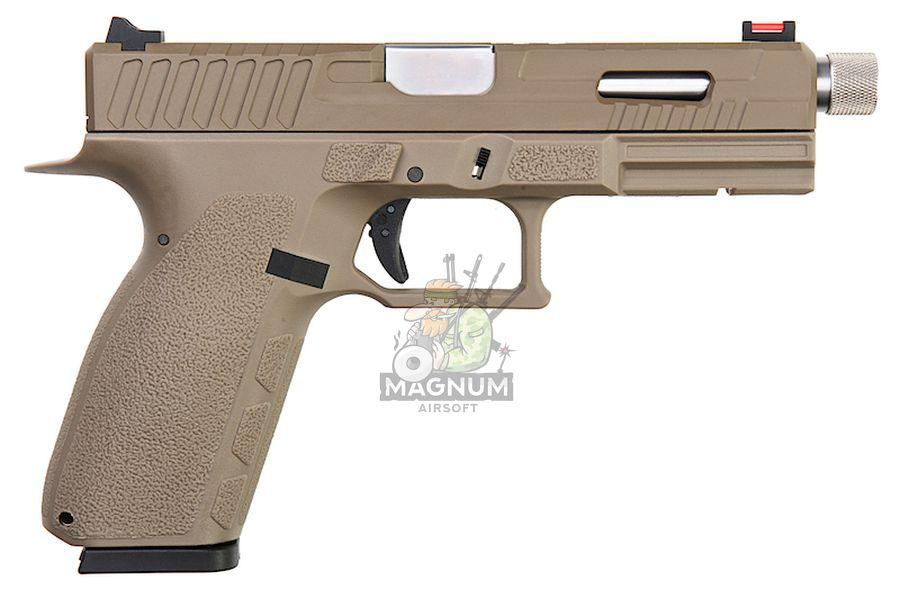 KJ Works KP-13F Full Auto Metal Slide Co2 Pistol (w/ Thread Barrel & Cap) - TAN