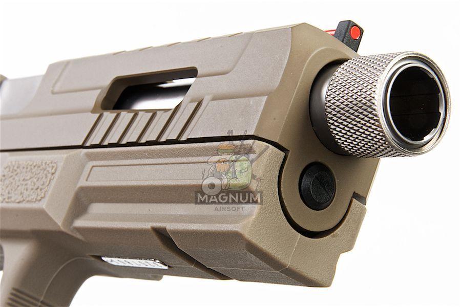 KJ Works KP-13F Full Auto Metal Slide GBB Pistol (w/ Thread Barrel & Cap) - TAN