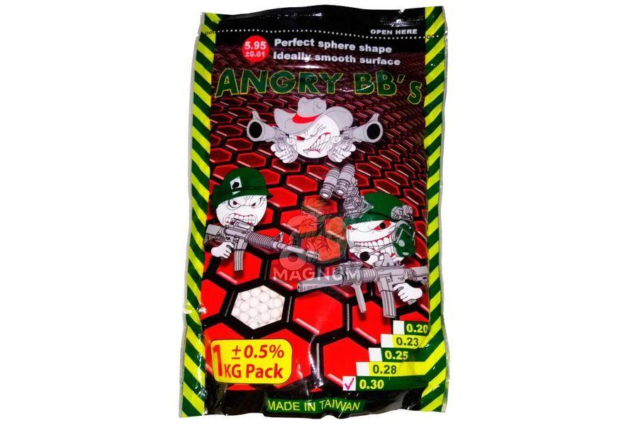 Шарики ANGRY BBs 0,30 (белые, 1кг. пакет) Taiwan TJ-030