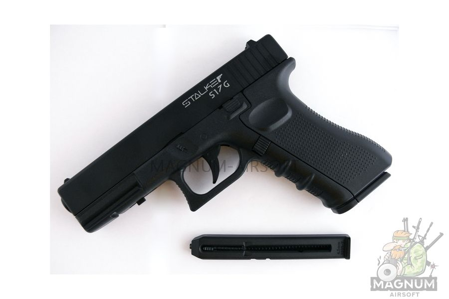 "Пистолет пневматический Stalker S17G (аналог ""Glock17"") к.4,5мм, металл-пластик, 120 м/с, черный"