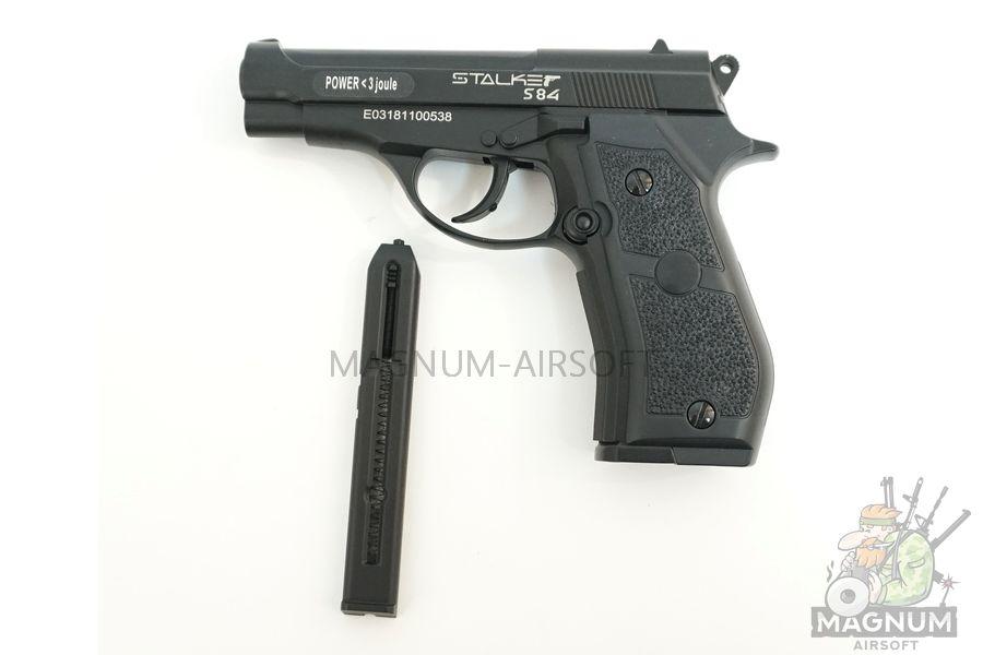 "Пистолет пневматический Stalker S84 (аналог ""Beretta 84"") к.4,5 мм, металл, 120 м/с (ST-11051M)"