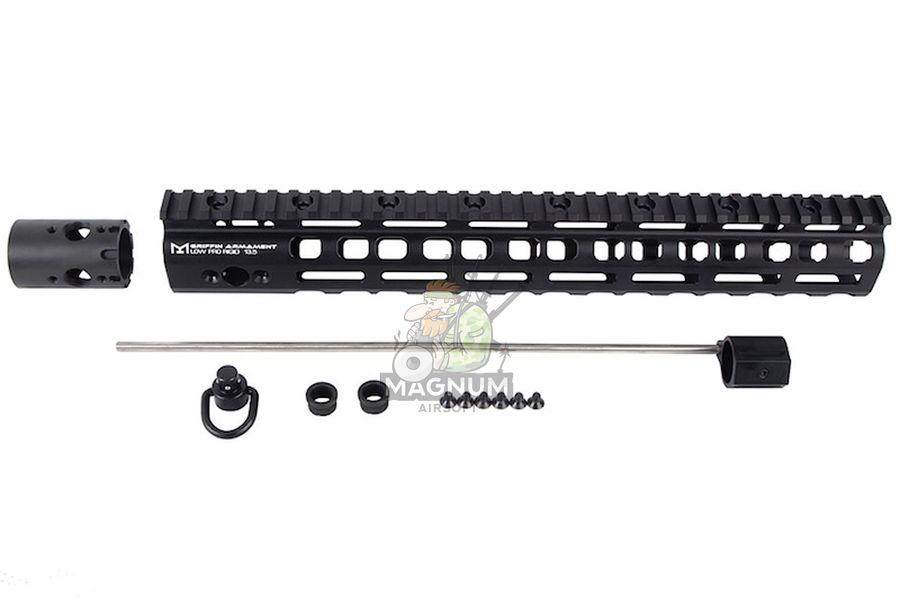 PTS Griffin Armament Low Pro Rigid 13.5 inch M-LOK Rail for M4 Airsoft AEG/ GBB/ PTW - Black
