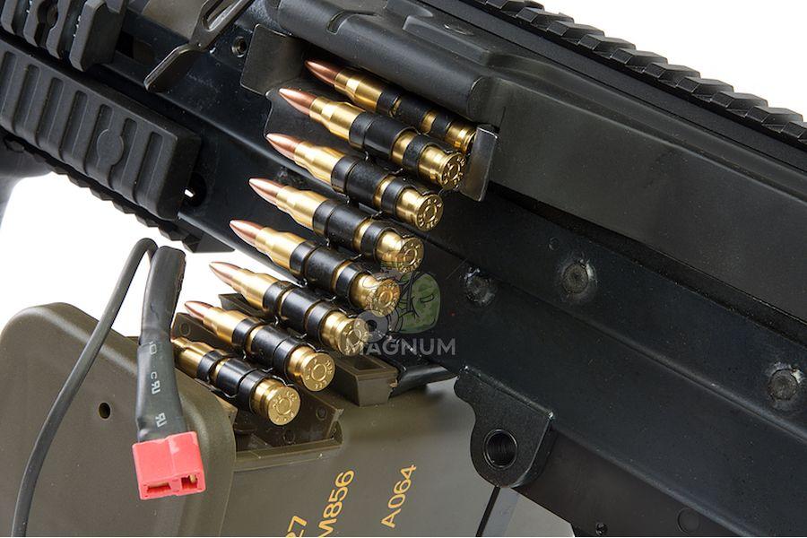 G&P MK46 Mod 0 (P.N.) AEG Machine Gun - DX (Black) - with Collapsible Buttstock (GP843 CNC Cut Stock)