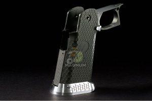 Airsoft Surgeon RWA Infinity CNC Aluminum Standard Logo Recess Grip Set - Gunmetal Grey