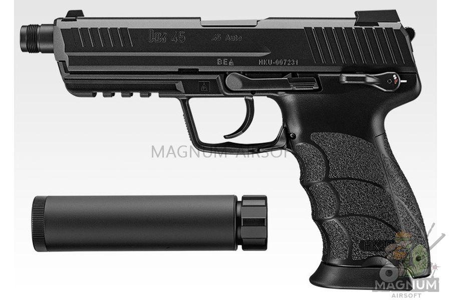 Pistolet TOKYO MARUI HK45 TACTICAL BLACK GBB plastik chernyj moderator 142931 1 - Пистолет TOKYO MARUI HK45 TACTICAL BLACK GBB, пластик, черный, модератор, 142931