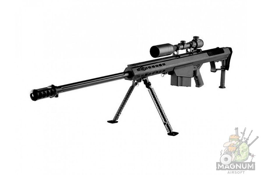VINTOVKA BARRET M107 SNOW WOLF AEG optika 3 9X50E soshki SW 013A BK - ВИНТОВКА BARRET M107 SNOW WOLF AEG оптика 3-9X50E, сошки SW-013A BK