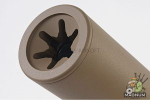 ASG ROTEX - III Barrel Extension Tube and Flash Hider - 225mm Length 14mm CCW Tan (Licensed by B&T)