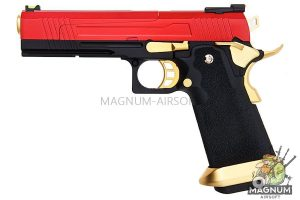 AW Custom HX10 Series Split Frame Hi-Capa Competition Grade Gas Blowback Pistol - Gold / Red