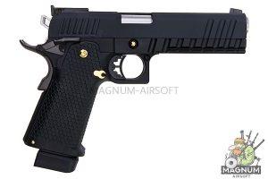 AW Custom HX21 Series Double Barrel Hi-Capa 1911 Gas Blowback Pistol - Black