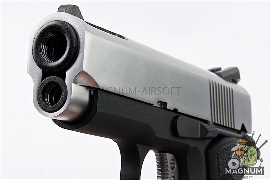 AW Custom NE10 Series 1911 Officer Size Gas Blowback Pistol - Silver Slide / Black Frame