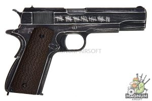 AW Custom NE20 Series Full Metal Custom 'Molon Labe' 1911A1 Gas Blowback Pistol - Brown Grip