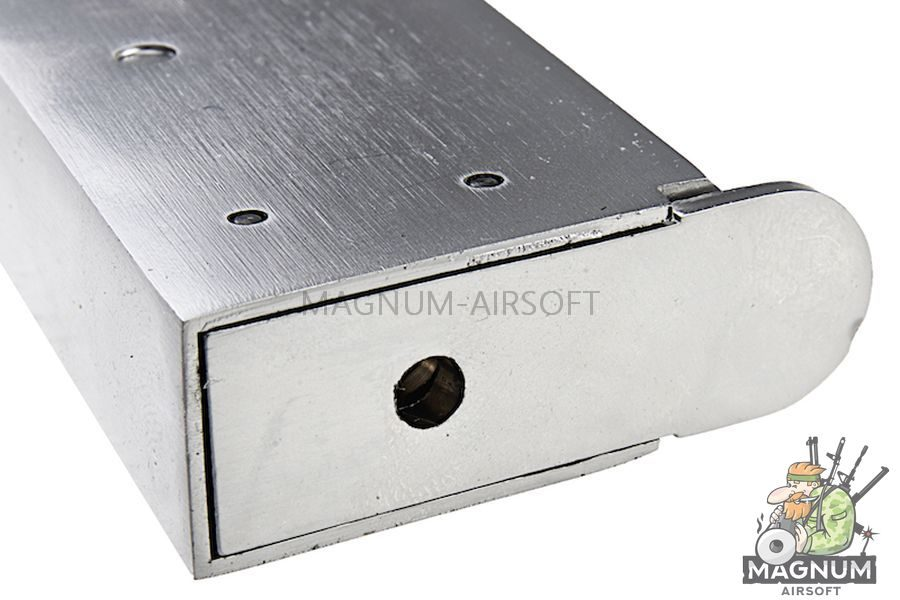 AW Custom 1911 Single Stack Gas Magazine for AW 1911 Series Gas Blowback Pistol - Silver