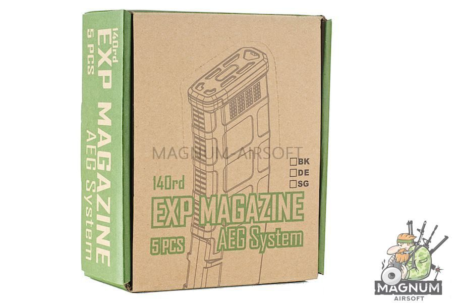 EXP 140rds PMG 3 Magazine for M4 AEG Series (5pcs / Set) - Grey