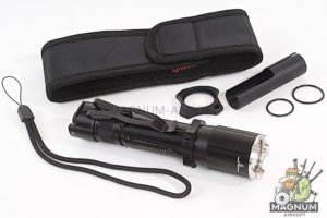 OPSMEN FAST 501A Tactical Flashlight w/ Crenulated Bezels (1000 Lumen) - Black