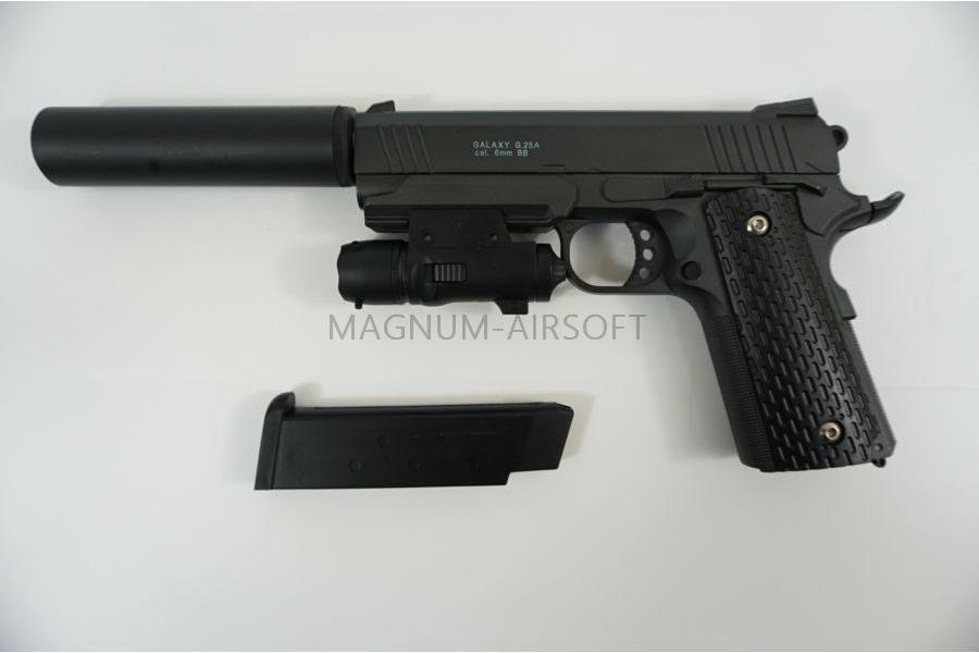 ПИСТОЛЕТ Colt 1911 PD Rail с глушителем и ЛЦУ (Galaxy) G.25A SPRING