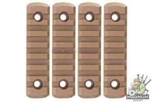 GK Tactical M-LOK Nylon 7 Picatinny Rail Sections (4pcs / Set) - Coyote Brown