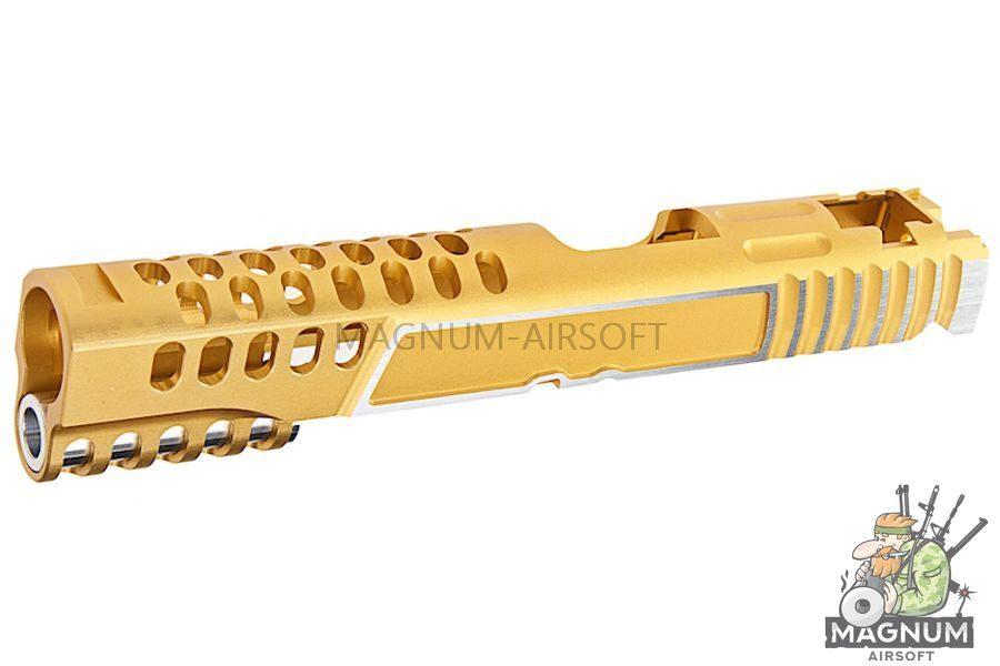 Gunsmith Bros CNC Aluminum Design 18 Single Slide Tokyo Marui Hi Capa 5.1 GBB - Gold 2 Tone