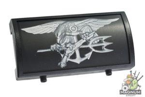 Custom Gun Rails (CGR) Aluminum Rail Cover (U.S. Navy SEAL Trident, Large Laser Engraved Aluminum) - BK Retainer