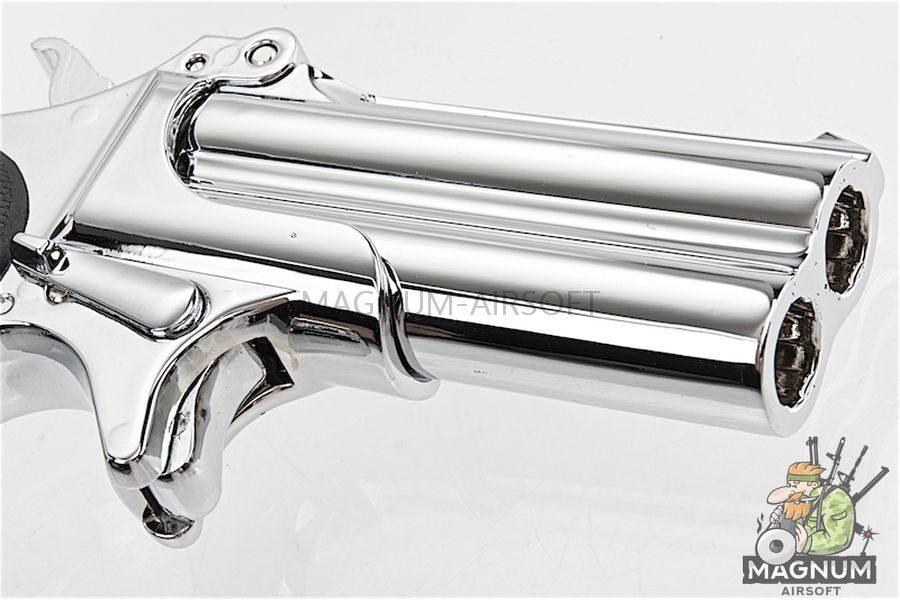 MAXTACT Derringer Full Metal Double Barrel 6mm GBB Pistol - Silver