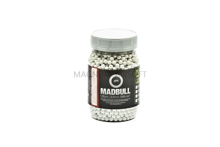 Шарики Mad Bull 0,40 белые (2000 шт., бутылка)