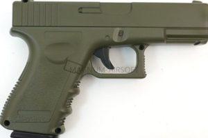 ПИСТОЛЕТ ПНЕВМ. Glock17 OLIVE  (Galaxy) G.15G SPRING