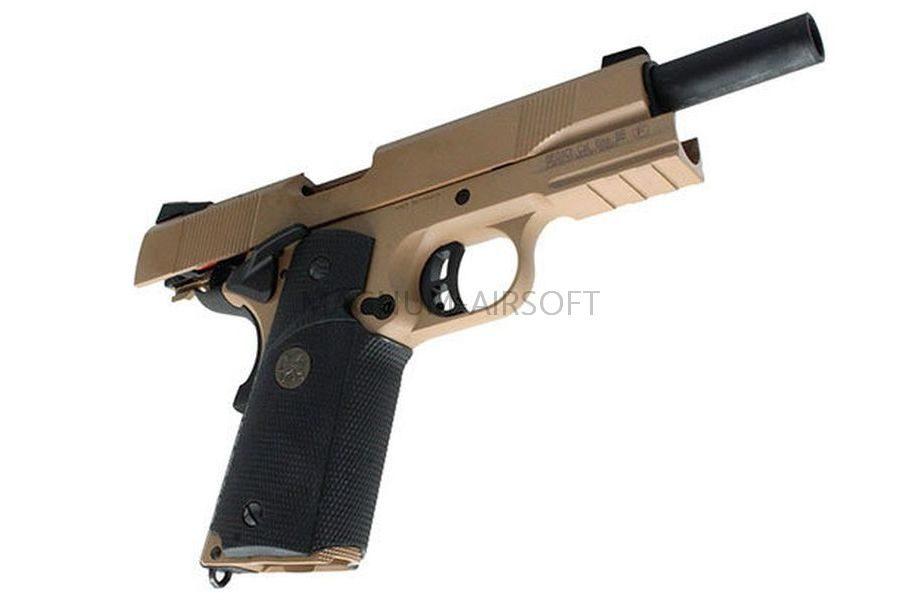 ПИСТОЛЕТ ПНЕВМ. KJW COLT M1911 M.E.U. GBB, GAS, TAN, металл, модель - KP-07 GAS -TAN
