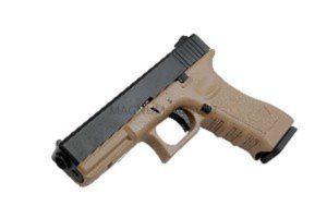 Пистолет KJW GLOCK G17 GBB CO2, удлин. ствол с резьбой под глушитель, мет. слайд, модель - KP-17-TBC-MS.CO2-TAN