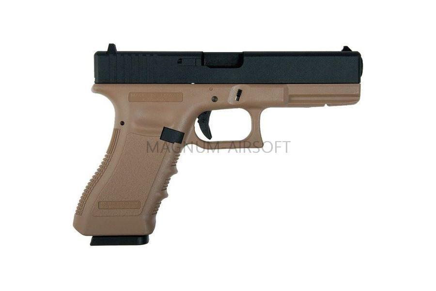 PISTOLET PNEVM. KJW GLOCK G18 GBB GAS avt. met. slayd model KP 18 TAN 2 1 900x600 - Пистолет KJW GLOCK G18 GBB GAS - KP-18-MS-TAN