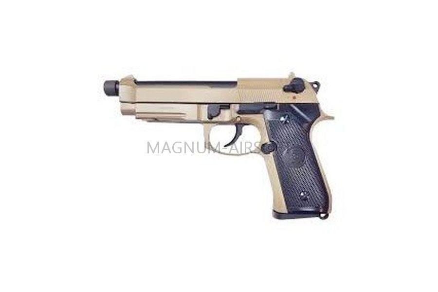 ПИСТОЛЕТ KJW M9 A1 GBB, CO2, TAN, металл, рельса, ствол с резьбой - M9A1-TBC.CO2 TAN
