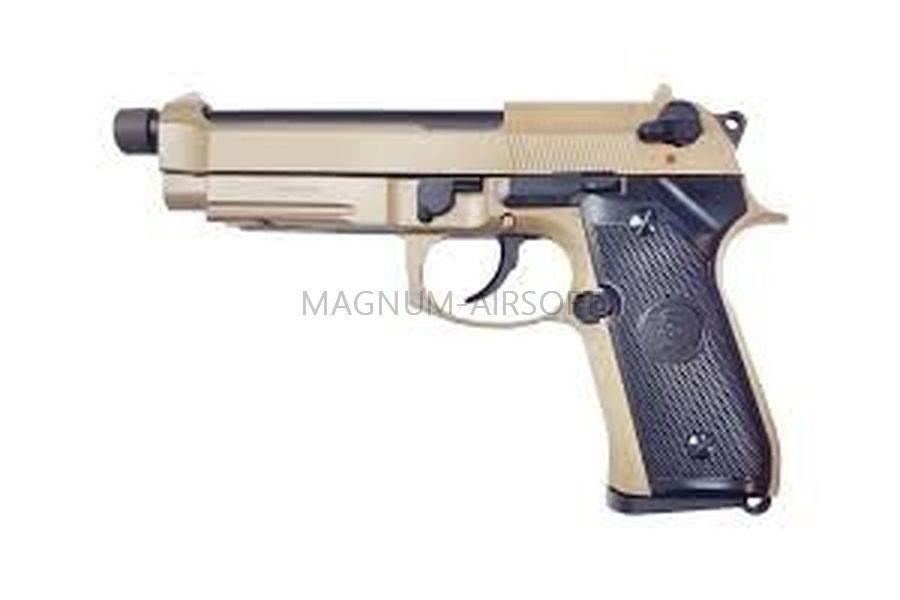 ПИСТОЛЕТ KJW M9 A1 GBB, GAS, TAN, металл, рельса, ствол с резьбой - M9A1-TBC.GAS TAN