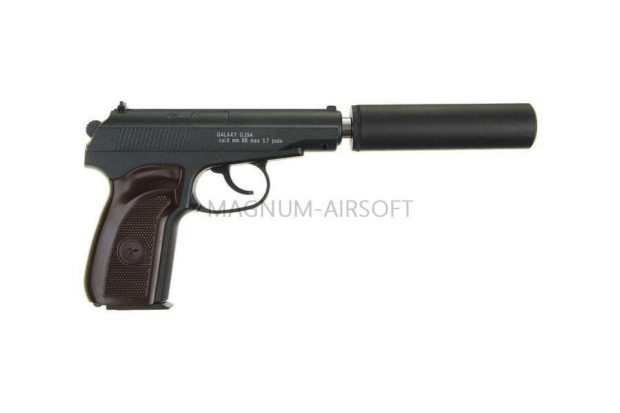 PISTOLET PNEVM. Makarov c glushitelem Galaxy G.29A SPRING 2 1 900x600 - Пистолет Galaxy ПМ Макаров c глушителем G.29A SPRING