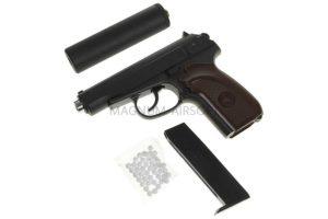 Пистолет ПМ Макаров c глушителем (Galaxy) G.29A SPRING