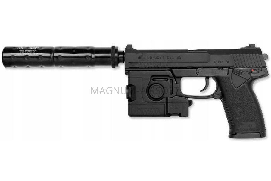 ПИСТОЛЕТ ПНЕВМ. TOKYO MARUI  MK-23 SOCOM GNB, такт.фонарь,кейс, модератор, черный, модель - BBG13