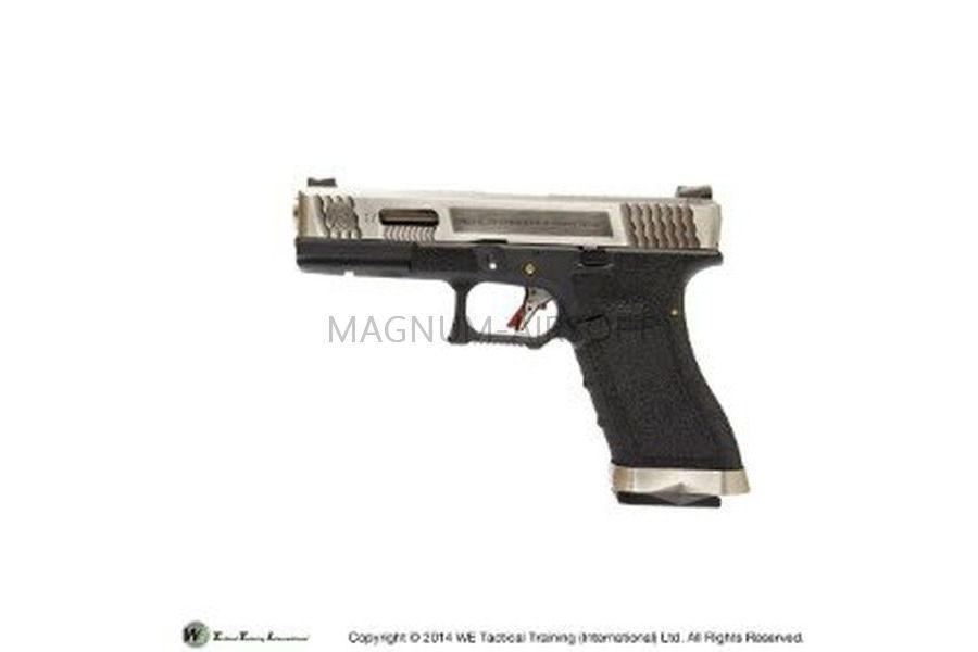 ПИСТОЛЕТ WE GLOCK-17 G-Force металл слайд, черная рамка, хромироваанный слайд, хромированый ствол WE-G001WET-7