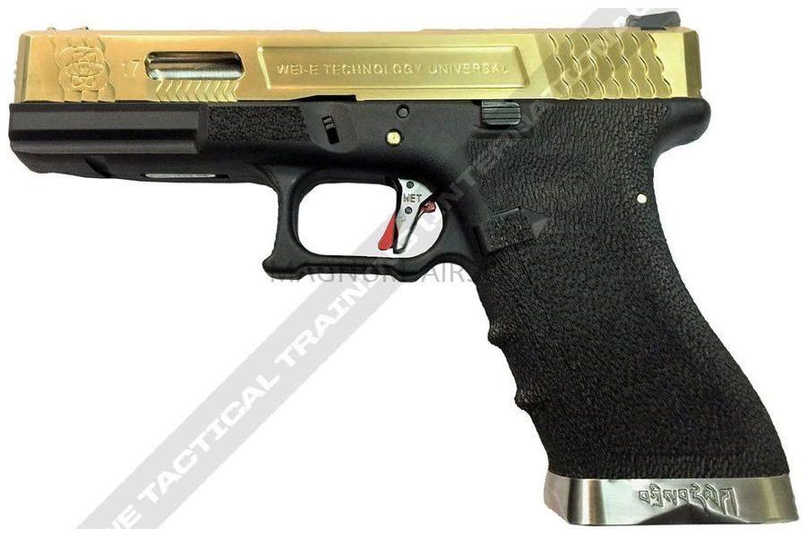 ПИСТОЛЕТ WE GLOCK-17 G-Force металл слайд, черная рамка, золоченый слайд, шахта, Titanium Version WE-G001WET-TG-G17A WET