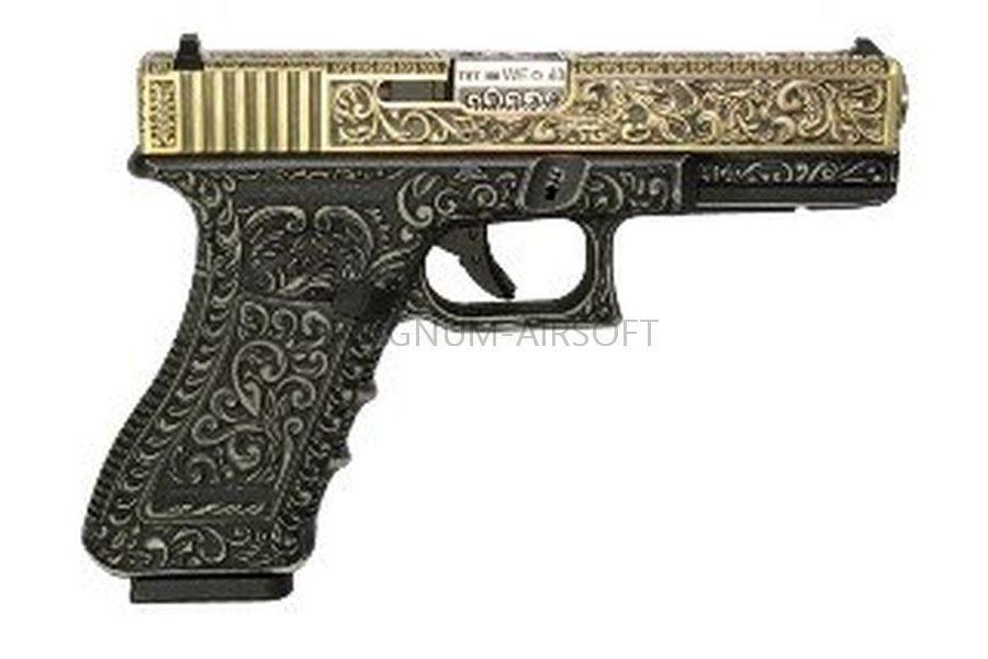 Пистолет WE GLOCK-17 gen3, металл слайд, под слоновую кость с гравировкой WE-G001BOX-IV