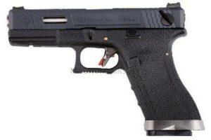 ПИСТОЛЕТ WE GLOCK-18 G-Force, авт, металл слайд, черная рамка, черный слайд, хромированный ствол  WE-G002WET-5