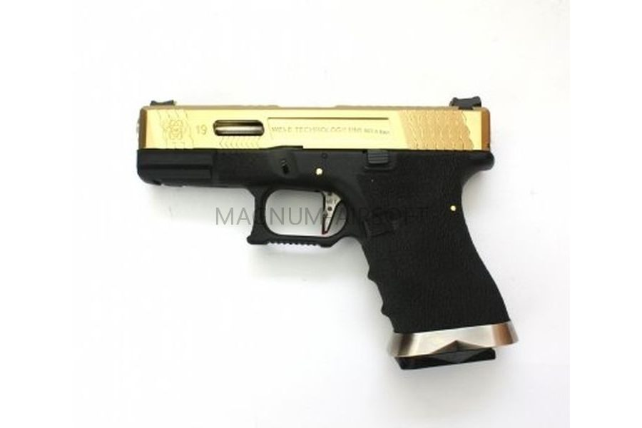 ПИСТОЛЕТ WE GLOCK-19 G-Force металл слайд, Titanium Version WE-G003WET-TG