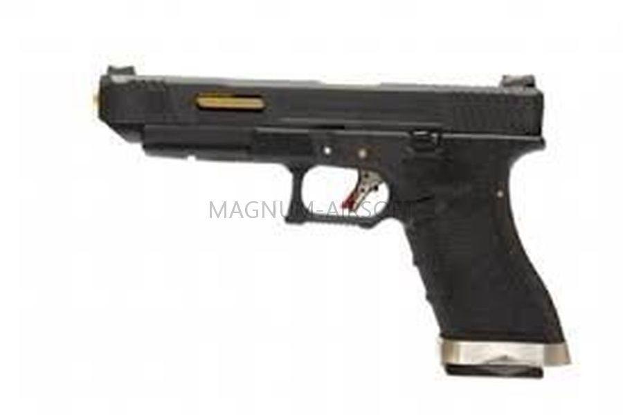 ПИСТОЛЕТ WE GLOCK-34 G-Force металл слайд, черная рамка, черный слайд, позолоченный ствол WE-G008WET-1