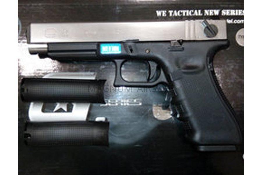 Пистолет WE GLOCK-35 gen4, авт, металл слайд, сменные накладки, хромированный WE-G009B-SV