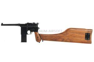 Пистолет WE Mauser 712, металл слайд, кобура приклад (пластик под дерево) WE-712-BK